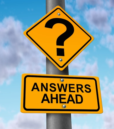 questions: Answers ahead yellow road sign on a highway metal pole announcing solutions to questions for customer service helping and comunicating to the driving consumers the solving of problems and technical support by a team of helpful service providers.