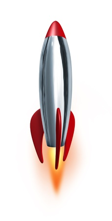 high speed: Blast off rocket launch blasting at high speed into the future with confidence representing a symbol of exploration and power from a metal missile spacecraft waiting to thrust upwards into space with a combustion flame as a concept of Entrepreneurship
