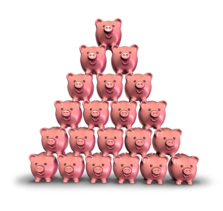 built in: Building Savings and making money by saving your finances illustrated by a stack of pink ceramic piggy banks built in the shape of a pyramid as a symbol of growing investments and growing your financial future.