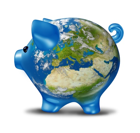 European banking and bad economy crisis as a a planet  earth with a piggy bank and world globe map of Europe showing the financial economic problems and business challenges of Greece Italy Spain Portugal in possible default. photo