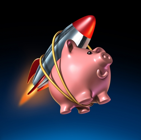 Fast money and higher savings account piggy bank with an attached rocket as rising interest rate return in an account and financial success with strong investments growth with quick compound interest on a black background.