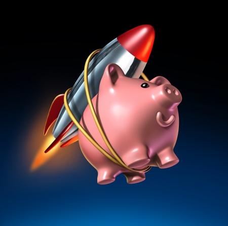 Schnelles Geld und höhere Sparkonto Sparschwein mit einem angehängten Rakete als steigenden Zinsen Rückkehr in ein Konto und finanziellen Erfolg mit starken Investitionen das Wachstum mit schnellen Zinseszins auf einem schwarzen Hintergrund. Standard-Bild