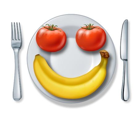 Gezond eten en gezondheid dieet met een bord vork en mes en tomaten en een banaan op zoek naar zo een blij lachend gezicht bestrijding van obesitas op een witte achtergrond. Stockfoto