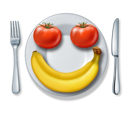 Healthy eating and health diet with a dinner plate fork and knife and tomatoes and a banana looking as a happy smiling face fighting obesity on a white background.