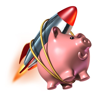 strapped: Higher Savings account piggy bank with a rocket strapped on to its back as a fast rising interest rate in an account and financial success with strong investments growth with quick compound interest.