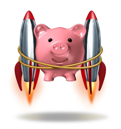 strapped: Investing Success and new wealth management solutions to grow your finances fast  as a pink piggy bank with rocket engines strapped on to its sides blasting off  as a successful financial strategy with strong growth potential.
