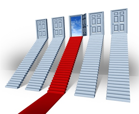 solution: Make your choice business concept with many stairways and stairs leading to closed doors but one path in red carpet is the success direction to an open entrance with a bluesky as financial freedom and the persistence in winning sales.