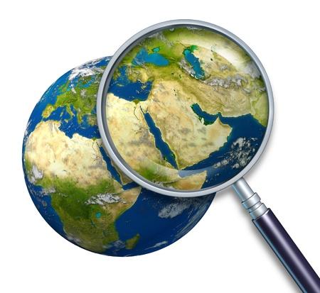 Planeet Aarde Midden-Oosten crisis met politieke thema's van de Perzische Golf en ruwe olie met landen, waaronder Iran Israël Egypte Libië Koeweit Syrië Saoedi-Arabië, omgeven door blauwe oceaan en de wolken met een vergrootglas op wit.