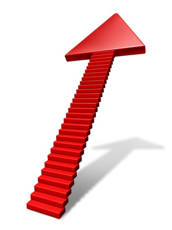 Moving up and business improvement concept with stairs leading higher as a red arrow pointing to the sky and showing great potential in a job promotion in the future.