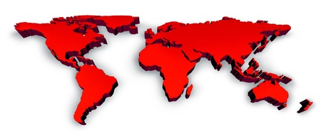 Red Dimensional 3D Wold Map with USA Europe Africa the Americas and Asia as an international symbol of global communications and intercontinental business based on a three dimension illustration of an earth model.