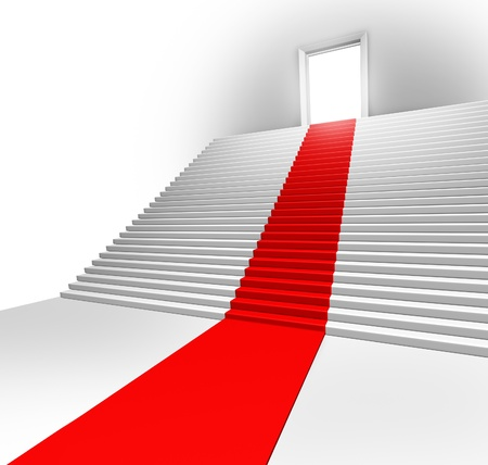 Red carpet entrance on a stairway leading to a doorway showing the royal treatment and first class service of a business opportunity as a clear pathway to success and  a plan to strategic great financial fortune. photo