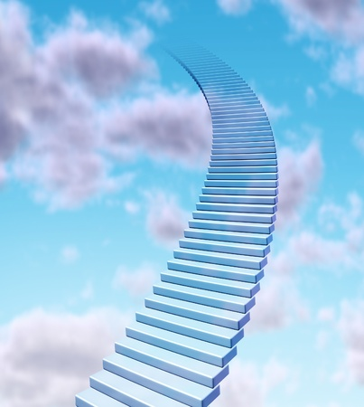 Stairway to the sky and rise to the top as a success in business promotion and financial profits concept with stairs going up to the blue clouds fading  high into the atmosphere. Imagens
