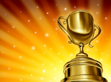 Vincere Gold Award successo coppa in un angolo di prospettiva forzata dinamica macchina fotografica e una stella d'oro scoppio sfondo incandescente con scintillii che mostrano grande successo a campione di sport e beinga in un concorso e vincitore di un torneo o di business migliore.