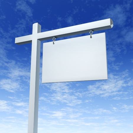 Blank White Real Estate Sign On a Blue Sky as a communicatio billboard marketing the sale of a home or family dream house through advertising with an agent and negotiating a good morrtgage interest rate. photo