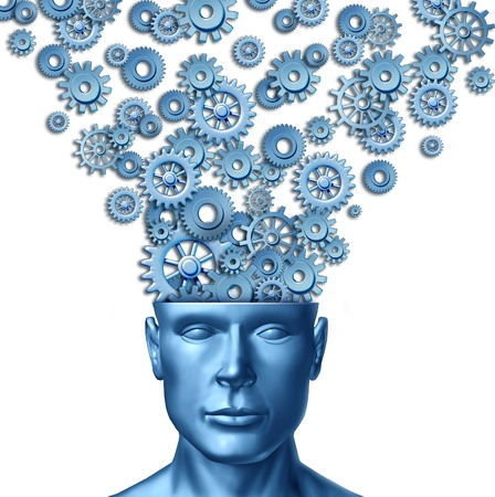front facing: Creative human and the intelligent brain with a front facing human head that has gears and cogs expressing itself out of the persons mind as a symbol of artistic design innovation and new thinking in business leadership.