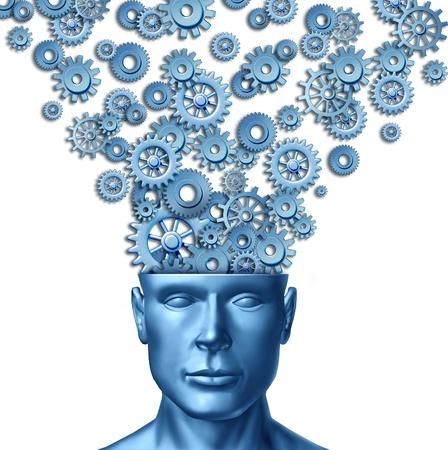 inteligencia: Humano creativo y el cerebro inteligente, con un frente frente a la cabeza humana que tiene engranajes y dientes que se expresa fuera de la mente de las personas como un s�mbolo de dise�o art�stico innovaci�n y nuevas ideas en el liderazgo empresarial. Foto de archivo