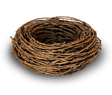 bird nest: Empty nest as a symptome of children growing up and leaving the family house as a result the parents feel sad and lonely as a vacant single bird nest made of twigs on a white background. Stock Photo