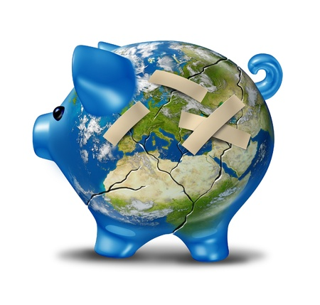 cracked earth: European banking and bad economy crisis as a cracked earth map piggy bank  with bandages to repair the broken ceramic pig bank and world globe of Europe showing the financial austerity measures due to economic problems of Greece Italy Spain Portugal Franc Stock Photo