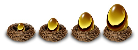 nest egg: Growing savings with a financial chart showing a gold nest egg increasing in size and value from a small investment to a very wealthy large retirement fund as a long term conservative investing strategy.