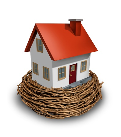 Home Investment as safe investing in a real estate nest egg or a financial concept of saving for a house and residential equity planning to save for the construction of a dream home of the future. Stock fotó