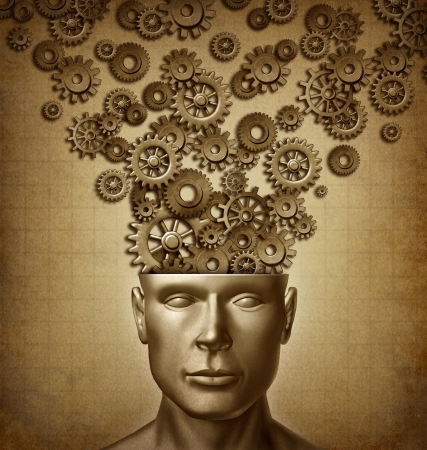 front facing: Human Business and the intelligent brain with a front facing human head that has gears and cog in a grunge vintage old parchment paper texture for design innovation as thinking to lead and learn. Stock Photo