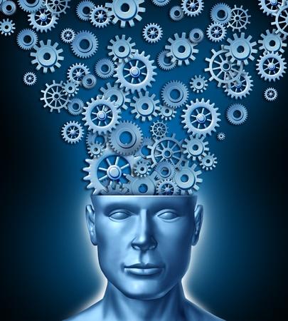 new thinking: Progettista umano e il cervello intelligente costruttivo con un fronte rivolto verso la testa umana che ha ingranaggi e ingranaggi che escono della mente persone come simbolo di innovazione intelligente disegno industriale e un nuovo modo di leadership aziendale.