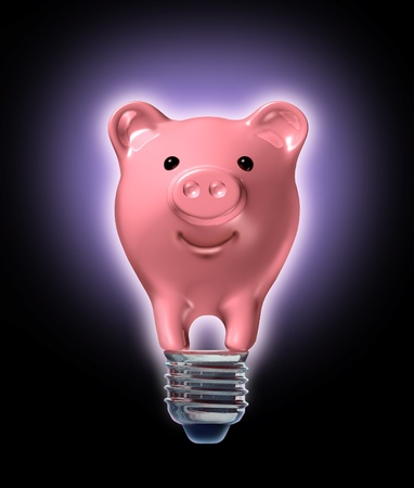 smart investing: Money saving ideas and investing strategy with a piggy bank in the shape of a glowing light bulb as a financial business concept of innovative new frugal savings solutions tips and strategies for retirement and finances. Stock Photo