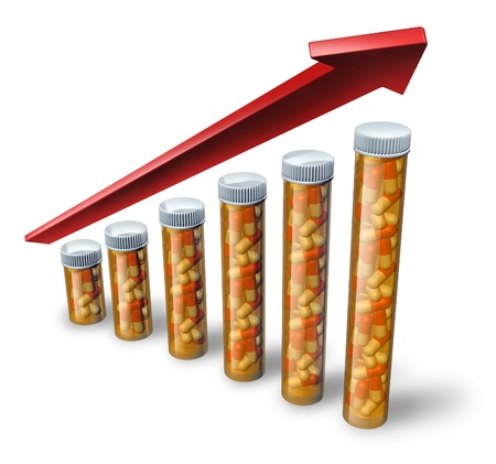 increasing: Rising health care costs soaring with pharmaceutical pill bottles increasing in size with a red arrow pointing higher as a medical concept showing the high price of health insurance and the challenge to financialy pay for medicine and hospital care.