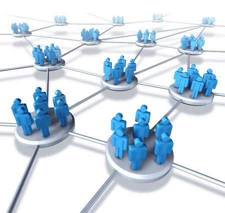Team communication network with groups of business people working in partnership within a connected networking mobile technology structure exchanging information and services working together to succeed.