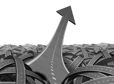 Breaking out and escaping to freedom the chaos of uncertainty in a clear leadership path to business success and financial opportunity with an arrow road pointing up and navigating out of confusion of tangled paths. Stock Photo - 12354009
