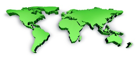 Dimensional Green 3D Wold Kaart met de VS Europa Afrika Amerika en Azië als een internationaal symbool van de wereldwijde communicatie en intercontinentaal bedrijf op basis van een drie dimensie illustratie van een aarde-model. Stockfoto