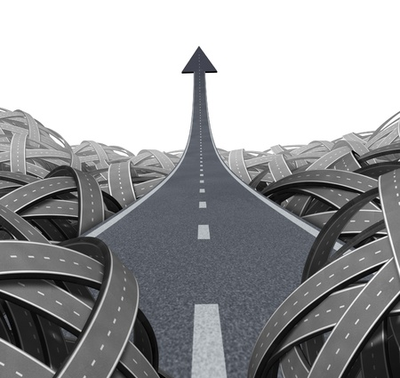 successful strategy: Escape to success path with a road to financial freedom as a  rise to the top and moving up and breaking free from the confusion of tangled roads with a clear goal leading to a straight arrow to wealth and opportunity. Stock Photo
