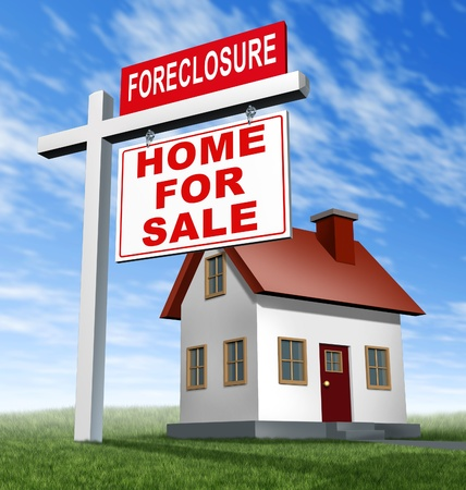house prices: Foreclosure home for sale sign and house as a real estate business financial concept of defaulting on mortgage home loans and losing your residence to the banks because of a difficult economy and low  homer prices.