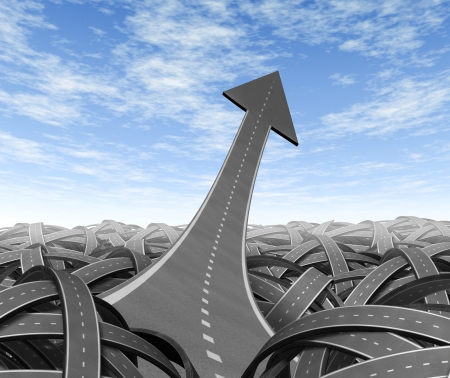 end of road: Breaking out and escaping to freedom the chaos of uncertainty in a clear leadership path to business success and financial opportunity with an arrow road pointing up and navigating out of confusion of tangled paths.