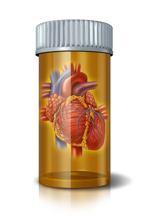 pill bottle: Heart drugs and blood medicine to treat the human heart organ in a pharmaceutical pill bottle showing the concept of prescription drugs therapy and research in hospital care for health and a healthy cardiovascular circulation of the body. Stock Photo