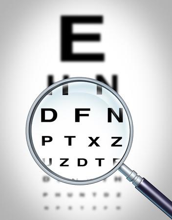 sight chart: El ojo humano y el s�mbolo gr�fico de la visi�n de vista m�dico optometrista para el departamento de Oftalmolog�a en ahospital con un vaso magnigying se centra en la figura borrosa. Foto de archivo