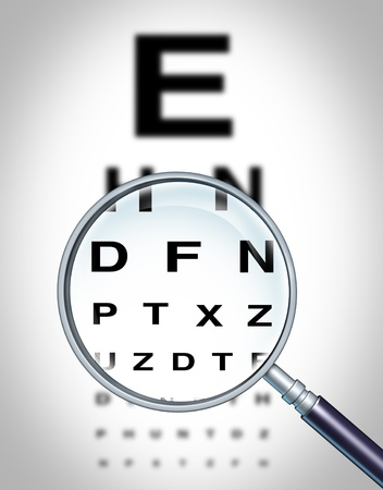 crystalline lens: Human eye vision chart and sight medical optometrist symbol for the Ophthalmology department in ahospital with a magnigying glass focusing on the blurred diagram.