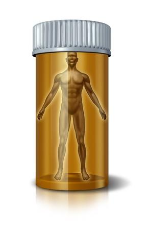 sobredosis: Medicina humana con un paciente médico en un frasco de pastillas farmacéuticas que muestra el concepto de la investigación sobre drogas con receta y la atención hospitalaria para la salud y un cuerpo sano y una mente o un concepto para la sobredosis de la medicación.