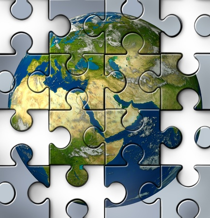Middle East crisis as a broken jigsaw puzzle with missing pieces showing the turmoil and political struggles of the persian gulf and crude oil with countries as Iran Israel Egypt Libya Kuwait Syria Saudi Arabia during the Arab spring. 스톡 콘텐츠
