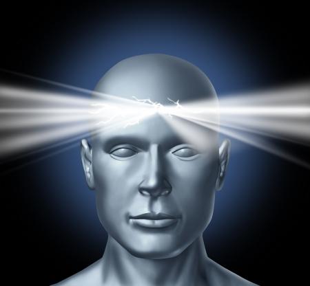 mente: Poder de la mente y los poderes curativos del cerebro subconscous para obtener inspiraci�n para las creaciones de nuevas ideas y el �xito personal, los logros en la vida humana con cabeza de una persona y una resplandeciente luz brillante desde el centro del pensador.