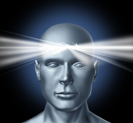 life coaching: Power of the mind and the healing powers of the subconscous brain to get inspiration for new ideas creations and personal human achievements success in life with a persons head and a glowing light shinning from the center of the thinker. Stock Photo