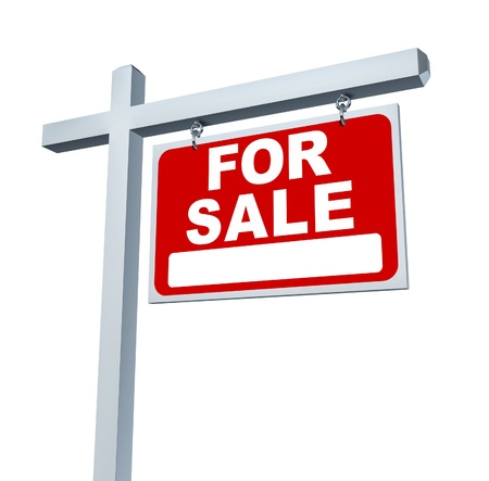 Real estate red for sale sign with blank area as a communication billboard marketing the sale of a home or family dream house through advertising with an agent and negotiating a good mortgage interest rate. photo