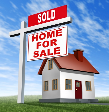 selling house: Sold home for sale sign and house as a real estate business financial concept of selling on low affordable mortgage home loans and buying your family dream home using an agent to negotiate the sale. Stock Photo