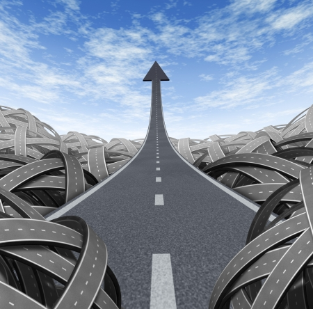 Success path with a road to financial success rise to the top and moving up and breaking free from the confusion of tangled roads with a clear escape leading to a straight arrow to wealth and opportunity.