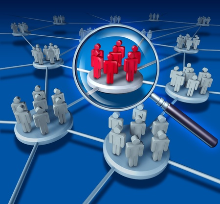 Best Team Success communication network with the selected group in red on blue as business people working in partnership a connected networking selected teams leader to teach and lead the business concept to work together to succeed. Stock Photo - 12353876