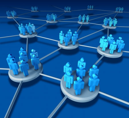Business Team work success as a communication network on blue with business people working in partnership in connected networking teams as a financisal telemarketing concept to work together in a web to succeed.