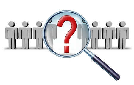 Career job search and business career choice employment concept with human businessman icons and a red question mark in a magnifying glass as a symbol of recruitment and occupation discovery. photo