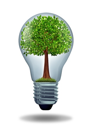 conserve: Environment and green energy ecological symbol of conservation and alternative electrical power to get off the grid and improve efficiency using battery or hybrid motor systems to conserve nature with a gree tree in a light bulb. Stock Photo