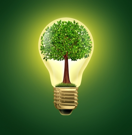 Environmental Ideas and environment green energy ecological symbol of conservation and alternative electrical power to get off the grid and improve efficiency using battery or hybrid motor systems to conserve nature with a gree tree in a light bulb.
