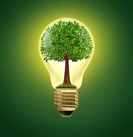 Umwelt-Ideen und Umwelt grüne Energie ökologische Symbol der Erhaltung und alternative elektrische Energie, um aus dem Netz und die Effizienz verbessern mit Batterie-oder Hybrid-Motor-Systeme, die Natur mit einem Baum grad in einer Glühbirne zu sparen.
